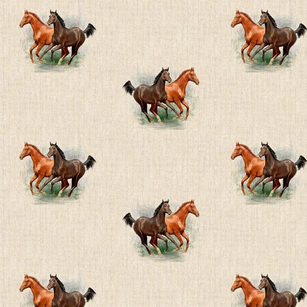 Pop Art Linen Look Cotton Canvas Fabric Horses