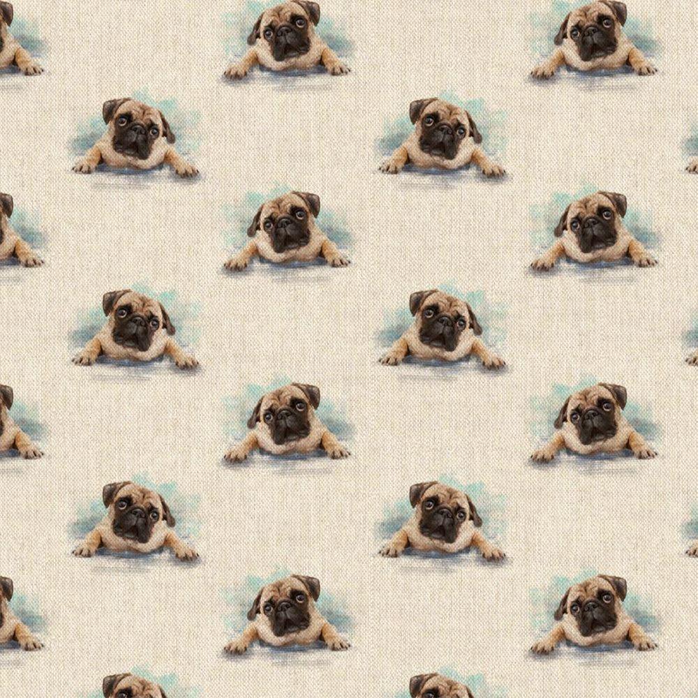 Pop Art Linen Look Cotton Canvas Fabric Pug