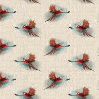 Pop Art Linen Look Cotton Canvas Fabric Red Parrot