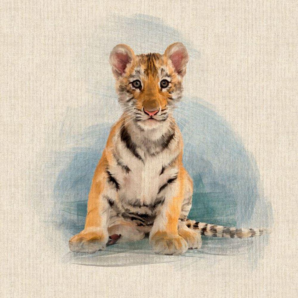 Pop Art Linen Look Cotton Canvas Fabric Panel Tiger