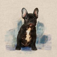Pop Art Linen Look Cotton Canvas Fabric Panel French Bulldog
