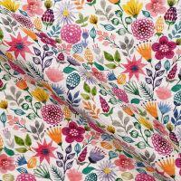 Pop Art Linen Look Cotton Canvas Fabric Tropical Flowers