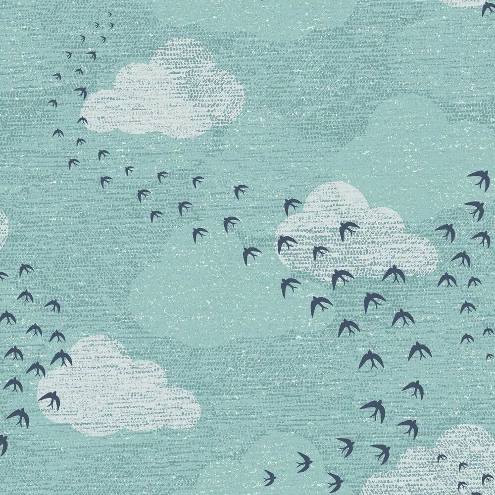 Dashwood Studio Elements Cotton Fabric Clouds & Birds Teal