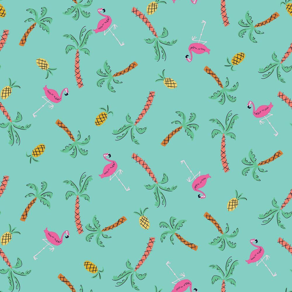 Dashwood Studio Lazy Days Cotton Fabric Flamingos & Pineapples