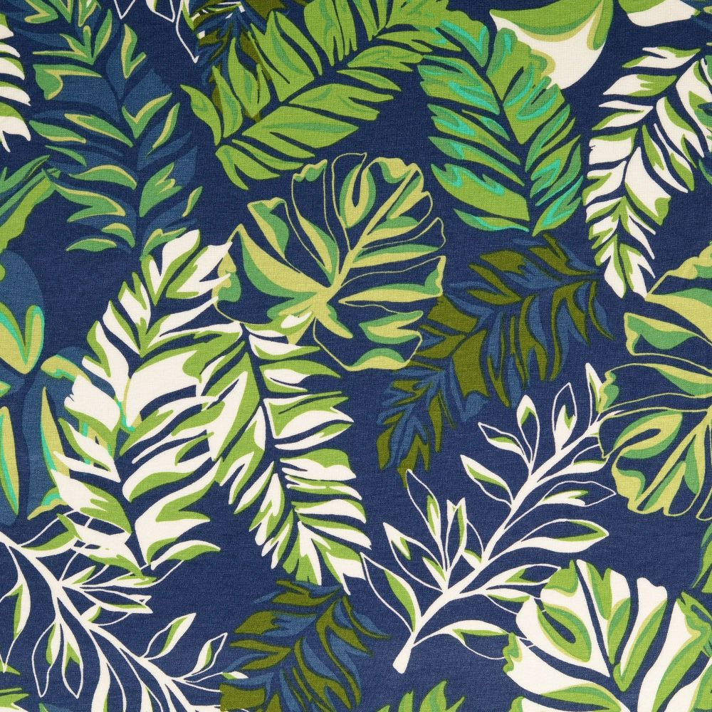 Viscose Jersey Fabric Tropical Leaves