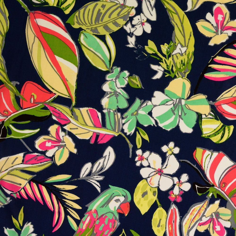 Viscose Fabric Tropical Leaves & Parrots