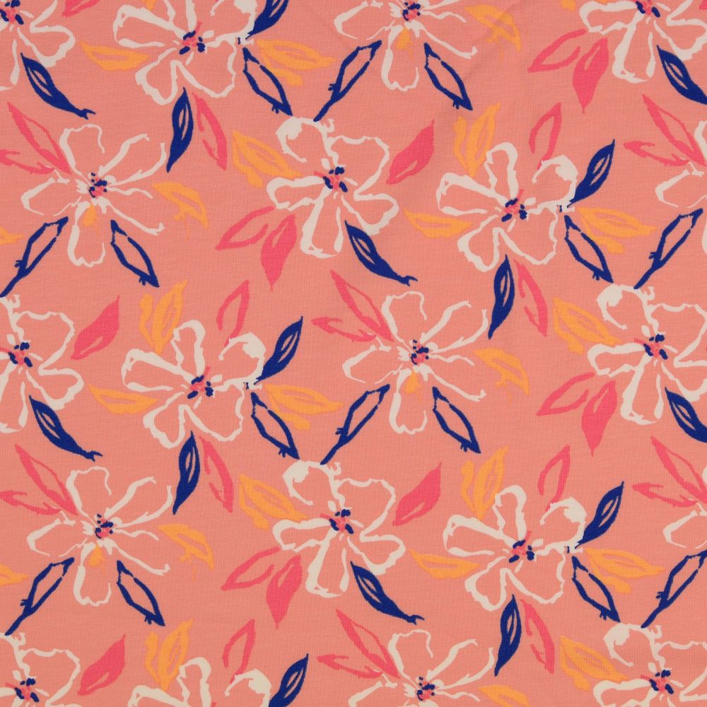 Cotton Jersey Fabric Coral Flowers