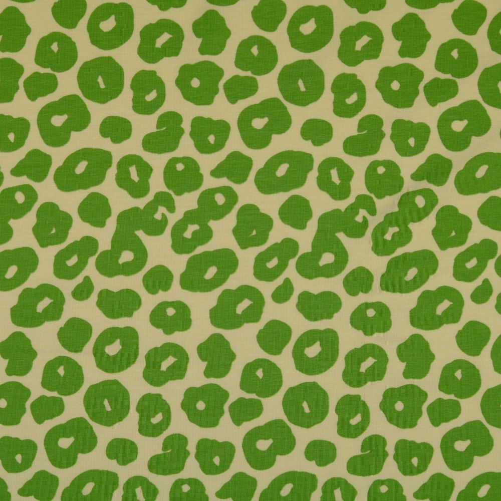 Cotton Jersey Fabric Leopard On Green