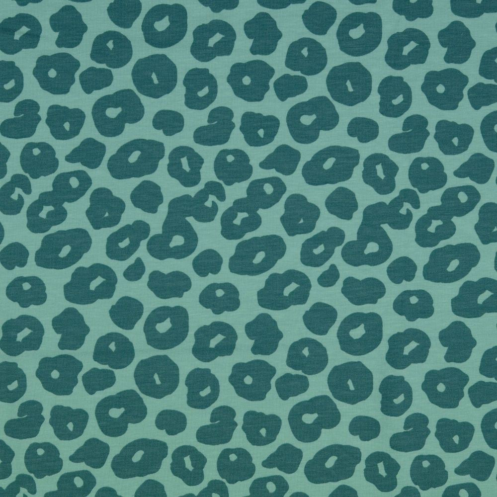 Cotton Jersey Fabric Leopard On Teal