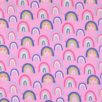 Cotton Jersey Fabric Rainbows Pink