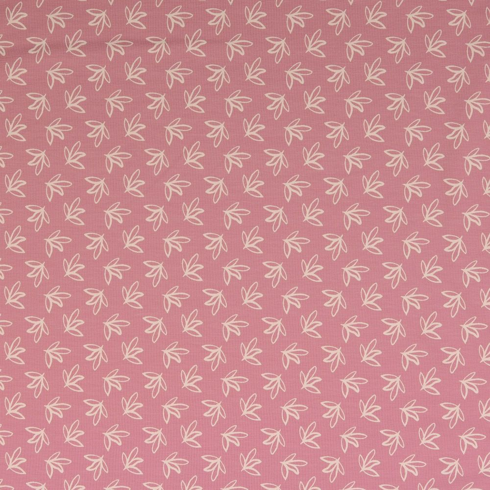 Cotton Jersey Fabric Leaves Soft Pink
