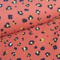 Soft Sweat GOTS Fabric Leopard Print Terracotta SLIGHT FAULT NEAR SELVAGE REDUCED