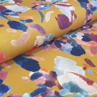 Viscose Fabric Florals Ochre Flowers