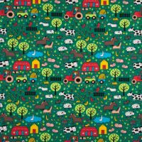 Cotton Jersey Fabric Farm Yard Green