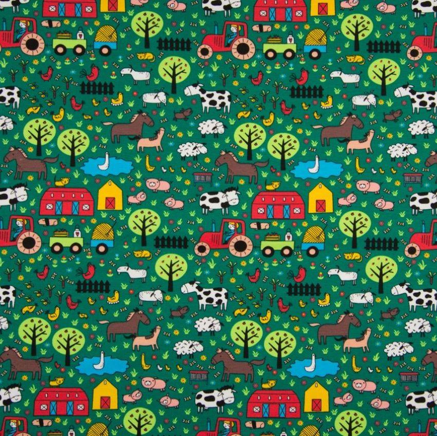 Cotton Jersey Fabric Farm Yard Green
