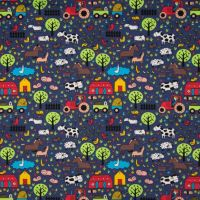 Cotton Jersey Fabric Farm Yard Blue