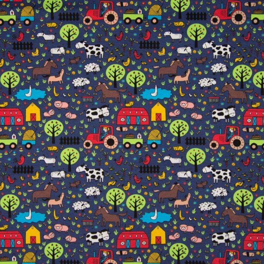Cotton Jersey Fabric Farm Yard Blue