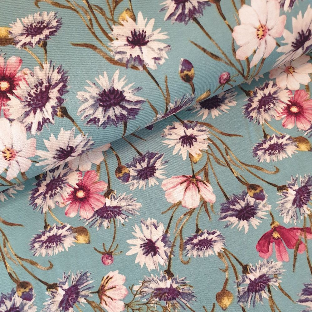 Viscose Fabric Sea Green Flowers