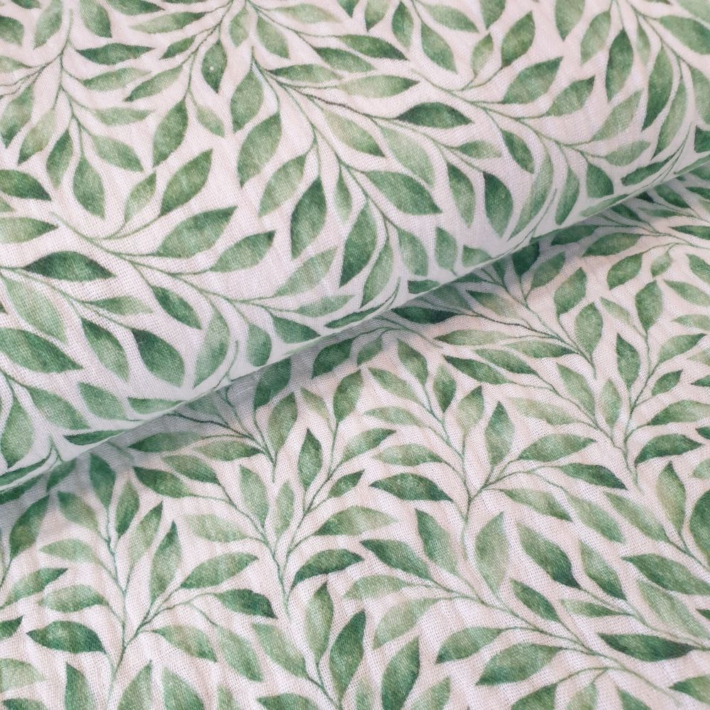 Double Gauze Green Leaves