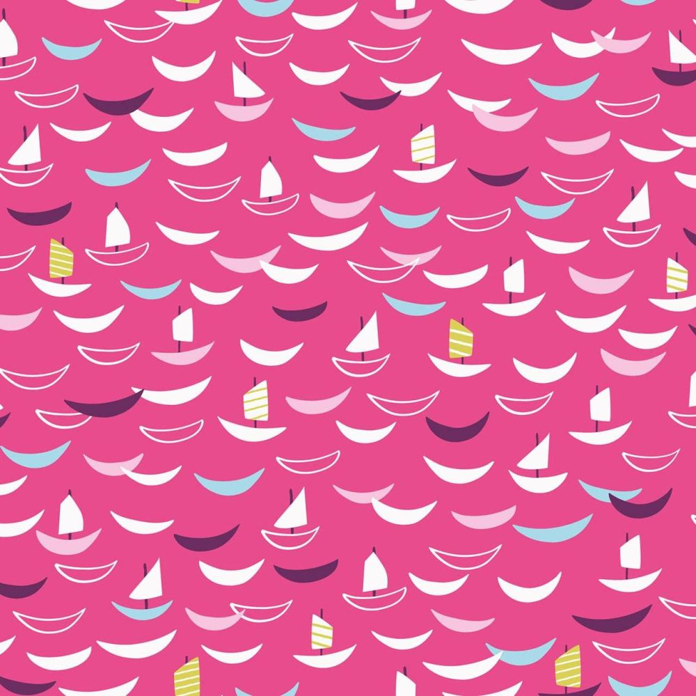 Dashwood Studio Cotton Fabric Silk Sailing Boats Pink