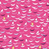 Dashwood Studio Cotton Fabric Silk Sailing Boats Pink