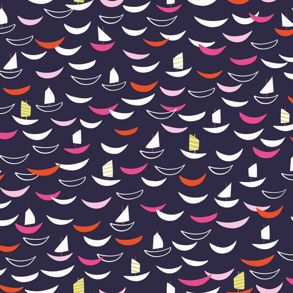Dashwood Studio Cotton Fabric Silk Road Sailing Boats Navy
