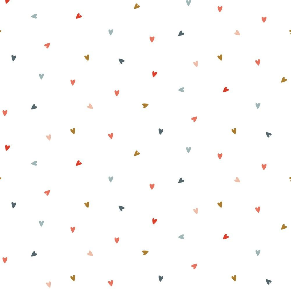 Cotton Poplin Fabric Hearts Multi on White