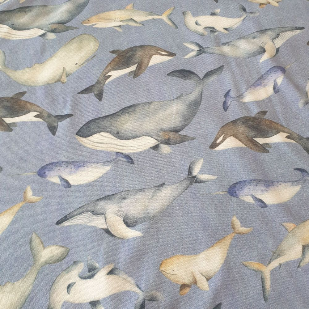 GOTS Cotton Jersey Fabric Whales Sky Blue