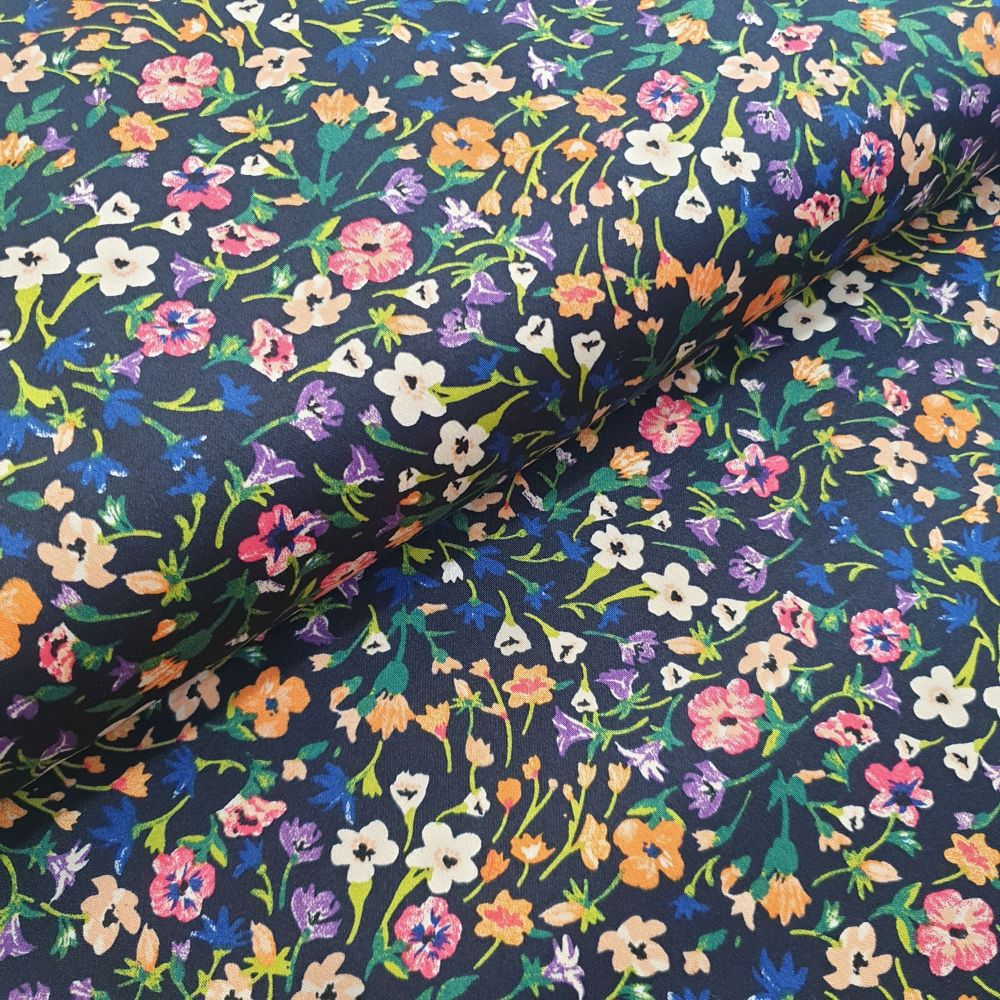 Cotton Sateen Fabric Flowers On Navy