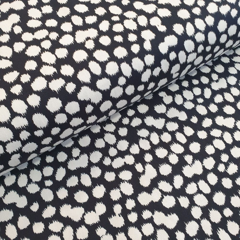 Cotton Sateen Fabric Dots Navy White
