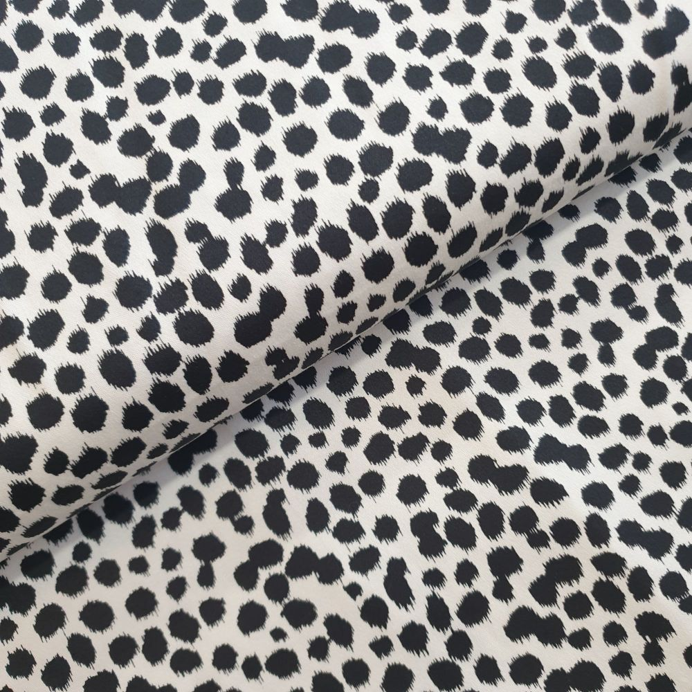 Cotton Sateen Fabric Dots White Black