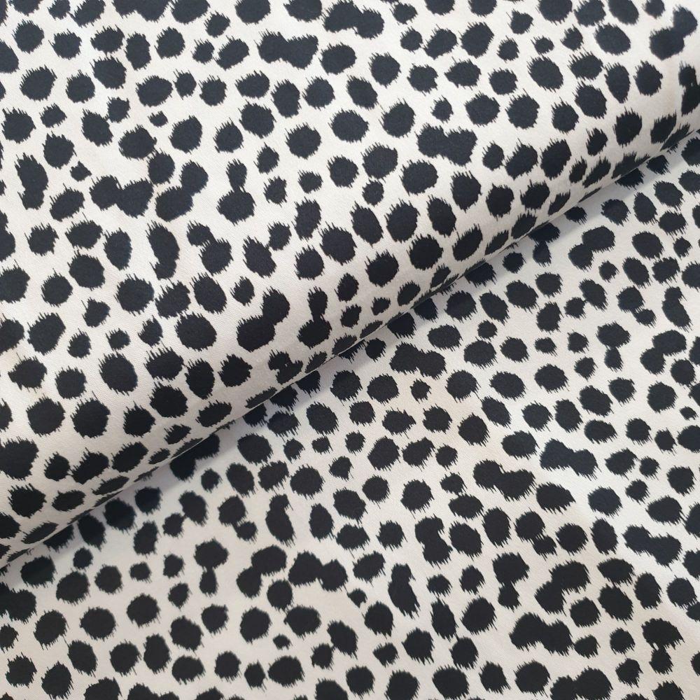 Cotton Sateen Fabric Dots White Black