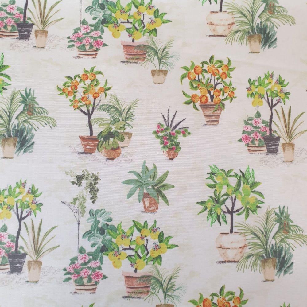 Oilcloth Fabric Gardenia Citrus Matt