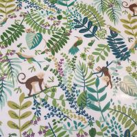 Oilcloth Fabric Monkey Forest Green