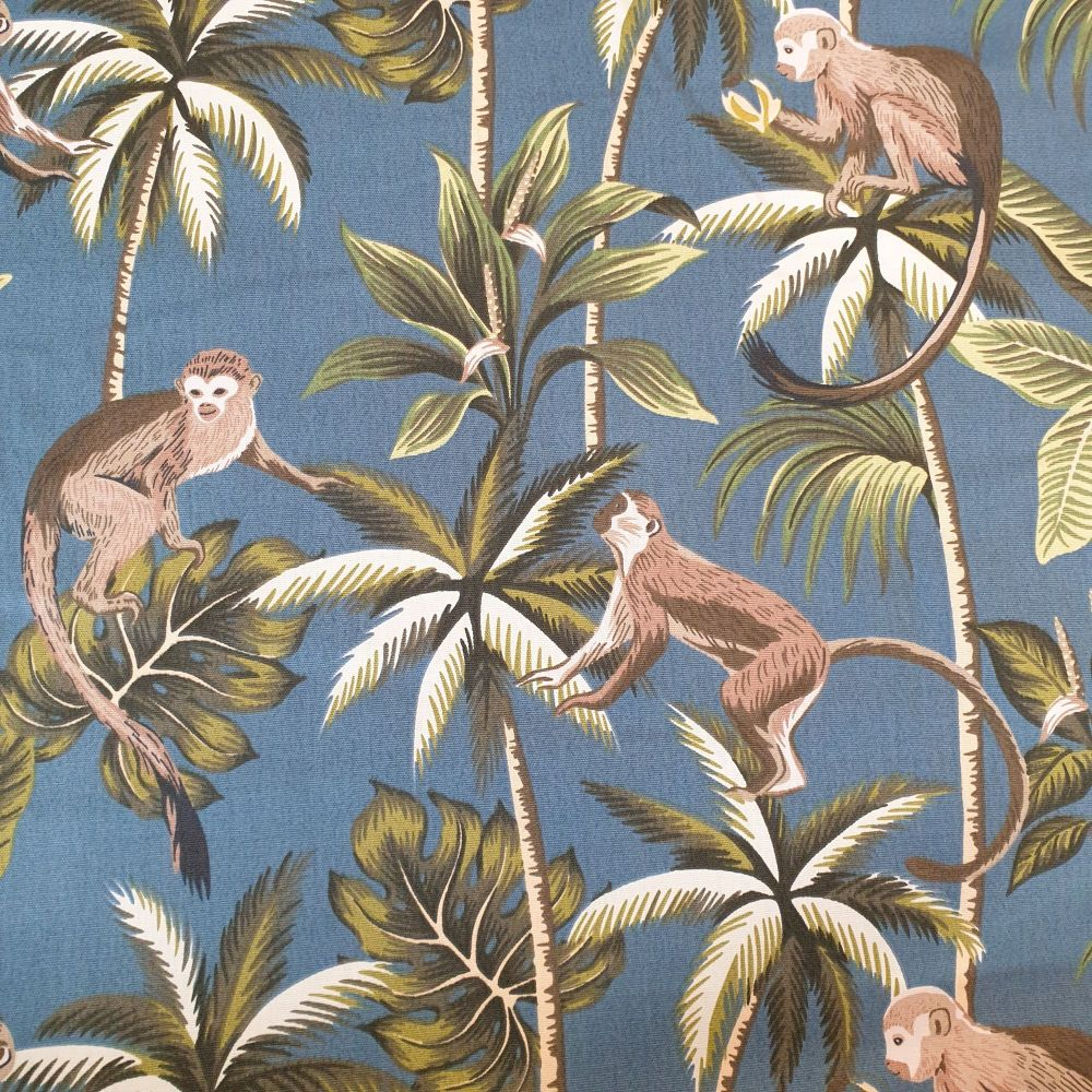 Upholstery Cotton Canvas Fabric Monkey Teal