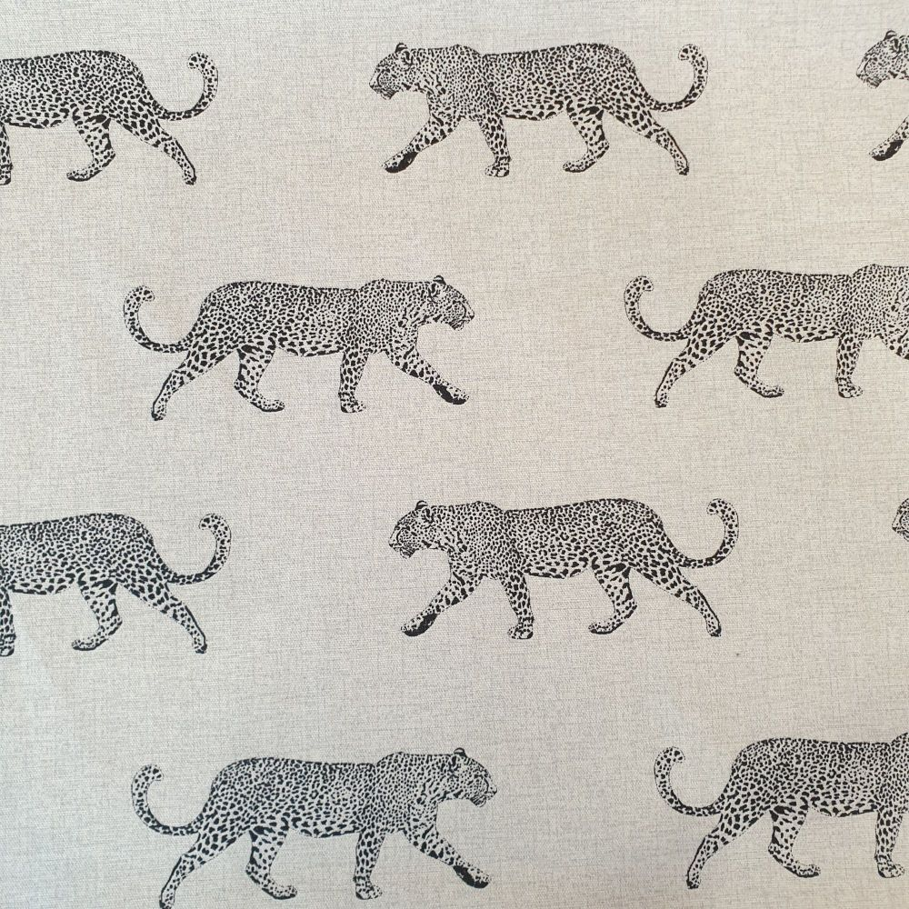 Upholstery Cotton Linen Mix Fabric Leopard Panama Natural