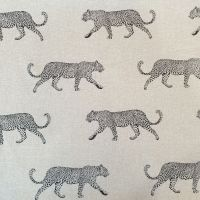 Upholstery Cotton Linen Mix Fabric Leopard Panama Natural