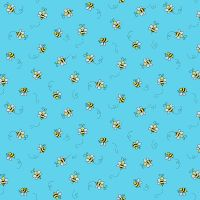 Makower Cotton Fabric Bumble Bee Teal