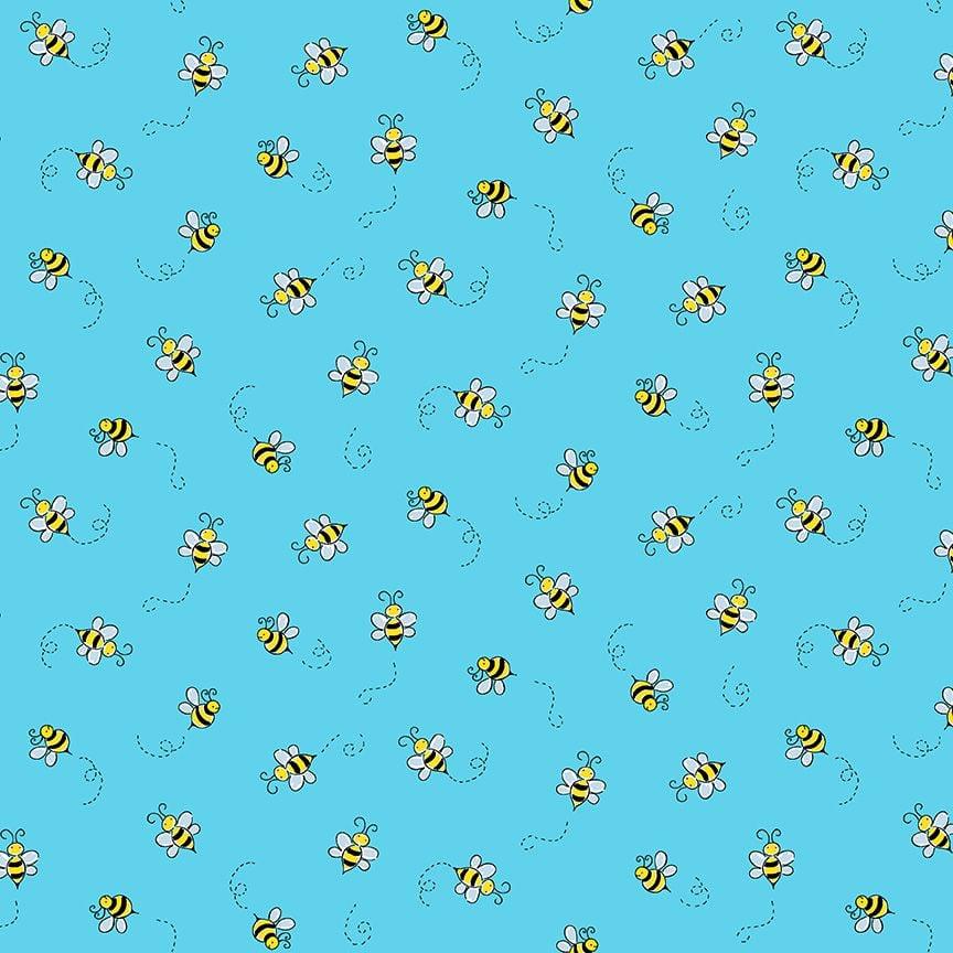 Makower Cotton Fabric Bumble Bee Teal