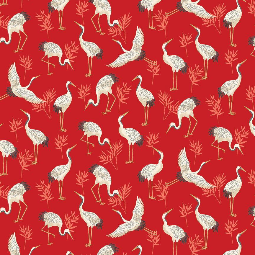 Makower Michiko Cotton Fabric Cranes Red