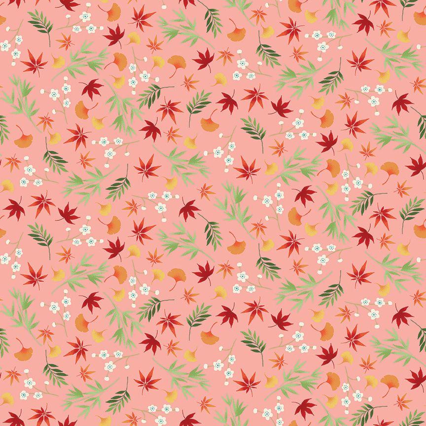 Makower Michiko Cotton Fabric Foliage Pink