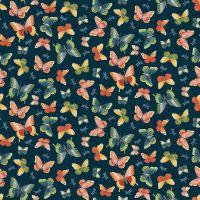 Makower Michiko Cotton Fabric Butterflies Blue