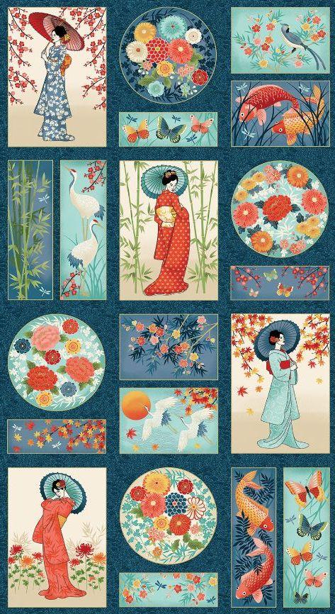 Makower Michiko Cotton Fabric Panel