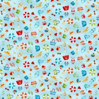 Makower Besides The Sea Cotton Fabric Icon Scatter Blue