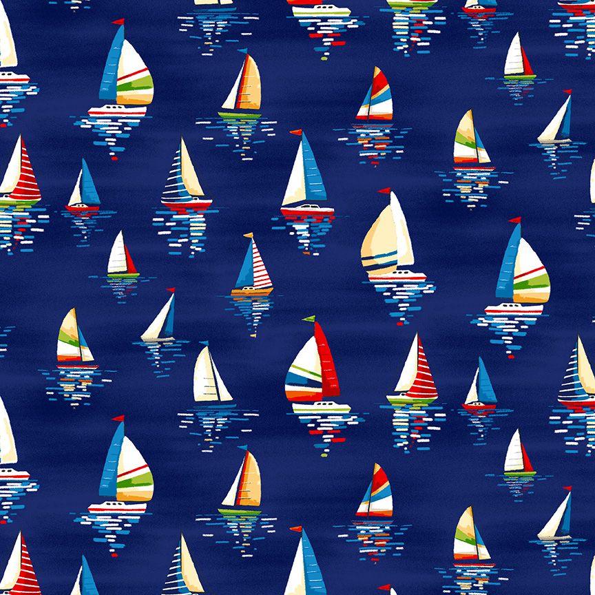 Makower Besides The Sea Cotton Fabric Sailing Boats Blue