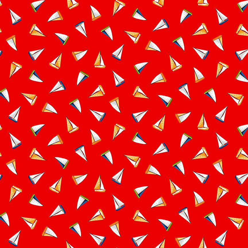 Makower Besides The Sea Cotton Fabric Mini Boats Red