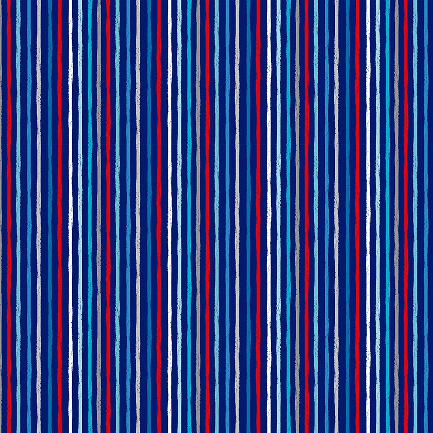 Makower Besides The Sea Cotton Fabric Chalky Stripe On Navy