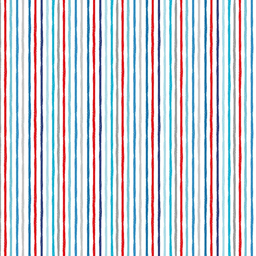 Makower Besides The Sea Cotton Fabric Chalky Stripe On White