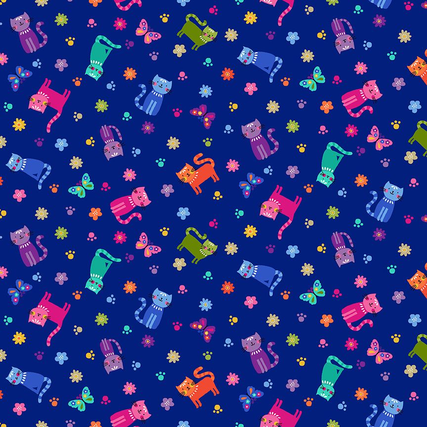 Makower Katies Cats Cotton Fabric Cats Scattered Blue