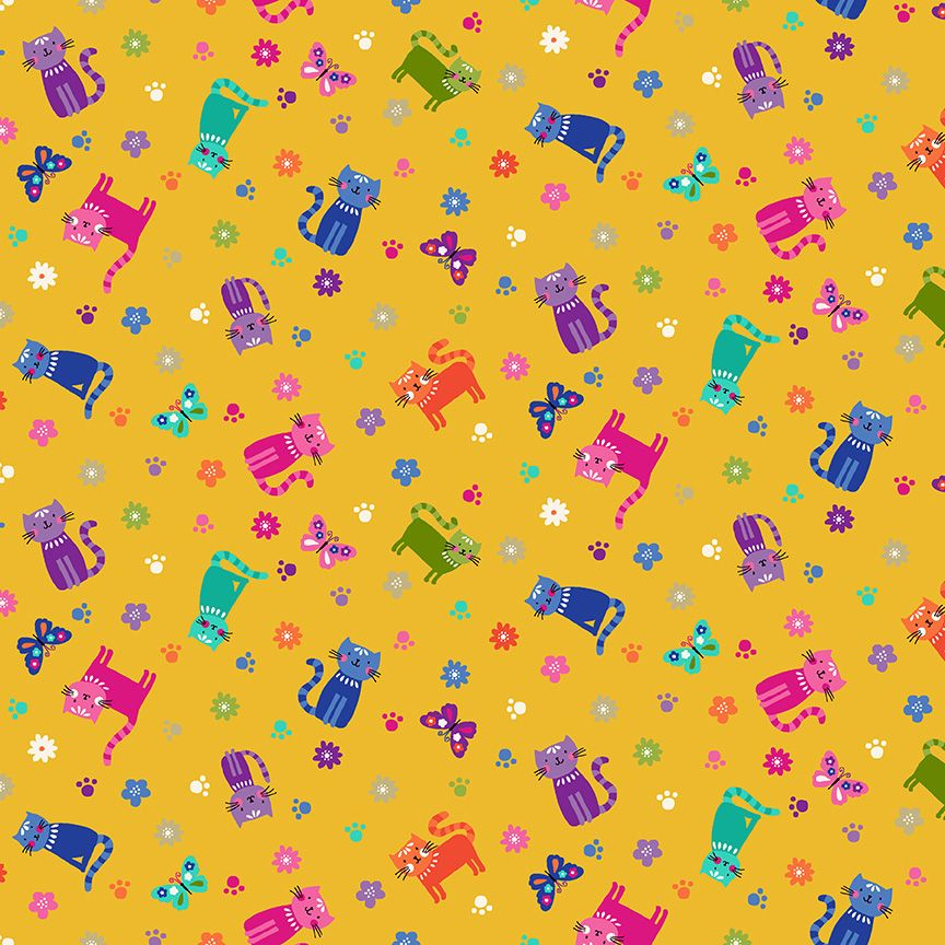 Makower Katies Cats Cotton Fabric Scattered Yellow